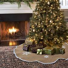 Aytai Christmas Tree Skirt 48 Inches Xmas Burlap White Snowflake Printed Decorations Indoor