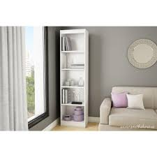 South Shore Morgan Narrow Storage Cabinet by South Shore Axess 5 Shelf Bookcase In Pure White 7250758 The