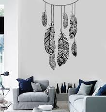 Wall Vinyl Decal Dreamcatcher Dream Catcher Ethnic Bedroom Feather Decor Mural Art 1488dz