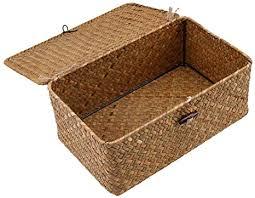 freneci aufbewahrungsbox seagras box korb mit deckel aufbewahrungskörbe für badezimmer wohnzimmer küche l