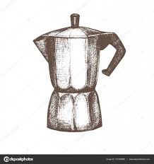 Vector Illustration With Sketch Geyser Coffee Maker Of Kitchen Utensils In Vintage Style Hand Drawn