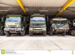 German Military Trucks Stands Under Military Roof Editorial ...