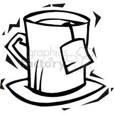 300x300 Royalty Free black and white image of a tea cup vector clip