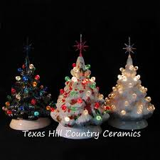 Ceramic Christmas Trees Set Of 3 Miniature Size Tabletop Lighted