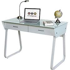 Glass And Metal Computer Desk With Drawers by Amazon Com Contempo Clear Glass Top Computer Desk With Pull Out
