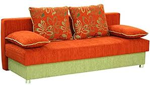 plaza orange stoff sofa bett mit speicher schlafplatz
