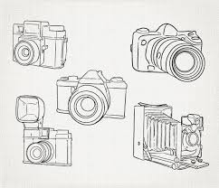 Hand Drawn Cameras Clip Art Outline Clipart Digital Vector And Png EPS