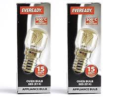 2 x 15w universal 300c oven cooker appliance bulb l ses e14