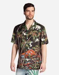 pajama shirt in printed silk men dolce u0026gabbana