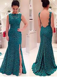 buy gorgeous mermaid long lace backless prom dress with side slit
