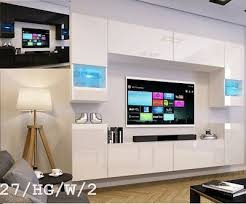 top moderne wohnwand schrankwand weiß schwarz hochglanz