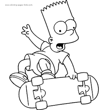 Simpsons Color Page Cartoon Characters Coloring Pages Plate Sheetprintable