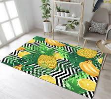 27x18 Tropical Fruit Pineapple Area Rug Black