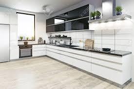 Modern White Kitchen Interior 3d Rendering Stockfoto Und Modern Kitchen Interior 3d Rendering Design Concept