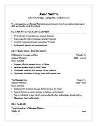 Experienced Massage Therapist Resume