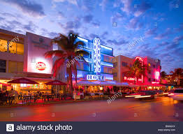 miami south deco deco neon lit historic buildings drive miami south