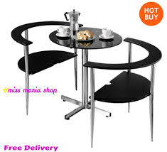 Ebay Patio Table Umbrella by Small Dining Table Set Chairs Furniture Black Modern Bistro Glass