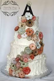 Rustic Iced Buttercream Wedding Cake With Vintage Flowers