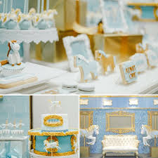 Blue Carousel Baptism Boy Carousel Baby Shower Ideas