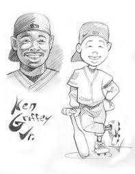 Sketch of Backyard Baseball version of Ken Griffey Jr
