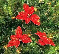 Image Is Loading Pack Of 12 Red Glitter Poinsettia Christmas Tree