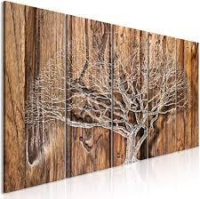 decomonkey bilder baum holz 200x80 cm 5 teilig leinwandbilder bild auf leinwand vlies wandbild kunstdruck wanddeko wand wohnzimmer wanddekoration deko