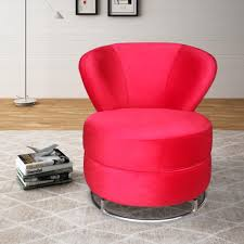 ME01 RP-52 Fabric And Metal Red Accent Chair