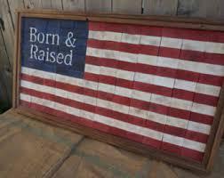 End Cut Rustic American Flag Hand Made Born Raised Framed