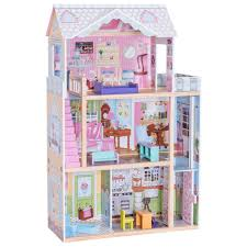 Costzon Dollhouse With Furniture 3 Levels Doll Cottage House Rooms Pink 46