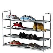 House of Quirk 4 Layer Metal Shoe Rack Grey Amazon Home