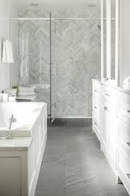 white bathroom with porcelain bathroom floor in grey with