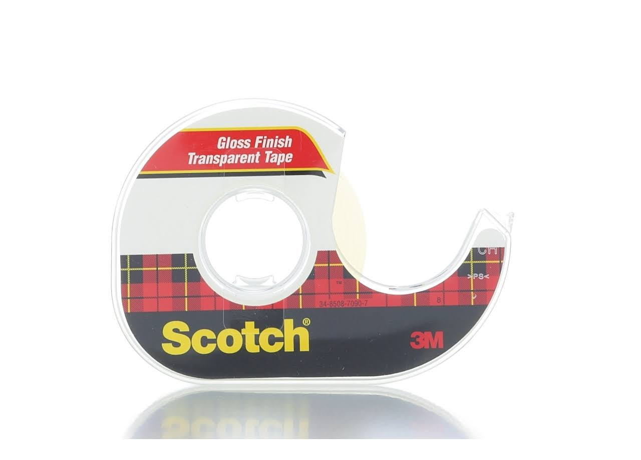 "Scotch Transparent Tape with Dispenser - 1/2"" x 1000"""