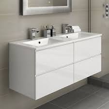 Ebay Bathroom Vanity Units by White Double Basin Bathroom Vanity Unit Sink Storage Modern