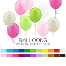 Party Balloons Clipart for Personal & mercial Usage 22 digital balloons 4x1 5