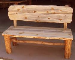 Rustic Wood Bench With Back