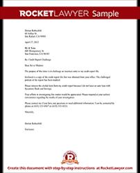 Credit Report Challenge Dispute Credit Report Letter