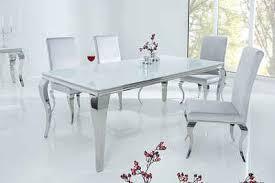 riess ambiente esstisch modern barock 180cm weiß tischplatte aus opalglas edelstahl beine für 8 personen