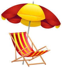 Beach Chair And Umbrella PNG Clip Art Image