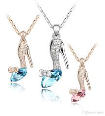 wholesale high heels crystal necklace fashion shoes statement