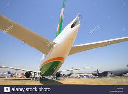 boeing 777 extended range rear view of boeing 777 300 er stock photo royalty free image