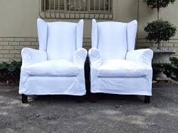 Pair Wingback Upholstered Chairs In Broad White & Grey Stripe Fabric (Loose  White Slip Covers Included) *Brand New Upholstery*