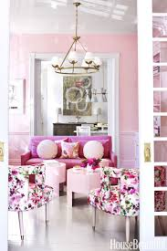 Bubblegum Pink And Gold Living Room Couch Chandelier Transitional Dining Victorian Georgian Home
