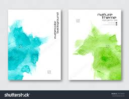 Vector Nature Poster Templates Hand Drawn Watercolor Stain Background Abstract For Card Brochure Banner Web Design Stock Photo