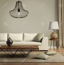 100 Designer Modern Sofa Beige Contemporary With Green Cushions Stock Photo