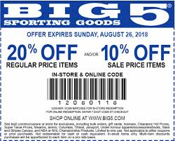 Big 5 Sporting Goods Coupon: 20% Off Regular Price Item And ... Freshpair Promo Code Eyeko Codes Walmart Discount City Store Wss Coupons With Barcode Dc Books Coupon Interval Intertional Membership Coupon Rosenberry Rooms Amazon Discounts A4c Promotional Coupons For Indy Blackhorse Com 15 Off 75 Pinned December 26th 10 25 At Jcpenney Via Garage Com Code Aropostale Buy Online Pickup In Store Time The Final Day For Extra 30 Off Exclusive Friends And Family Drivers Ed Direct Mecca Bingo Hall Vouchers