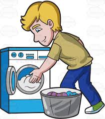 A Man Places The Clothes In Washing Machine Cartoon Clipart For