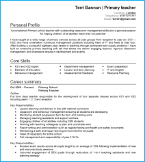 Primary Teacher CV Example Page 1
