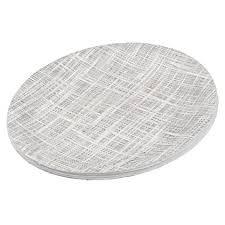 Cute Chic White Gray Faux Jute Fabric Pattern Paper Plate