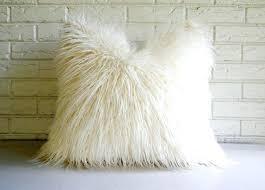 Blush Mongolian Lamb Fur Pillow Antique Farmhouse Mongolian Fur