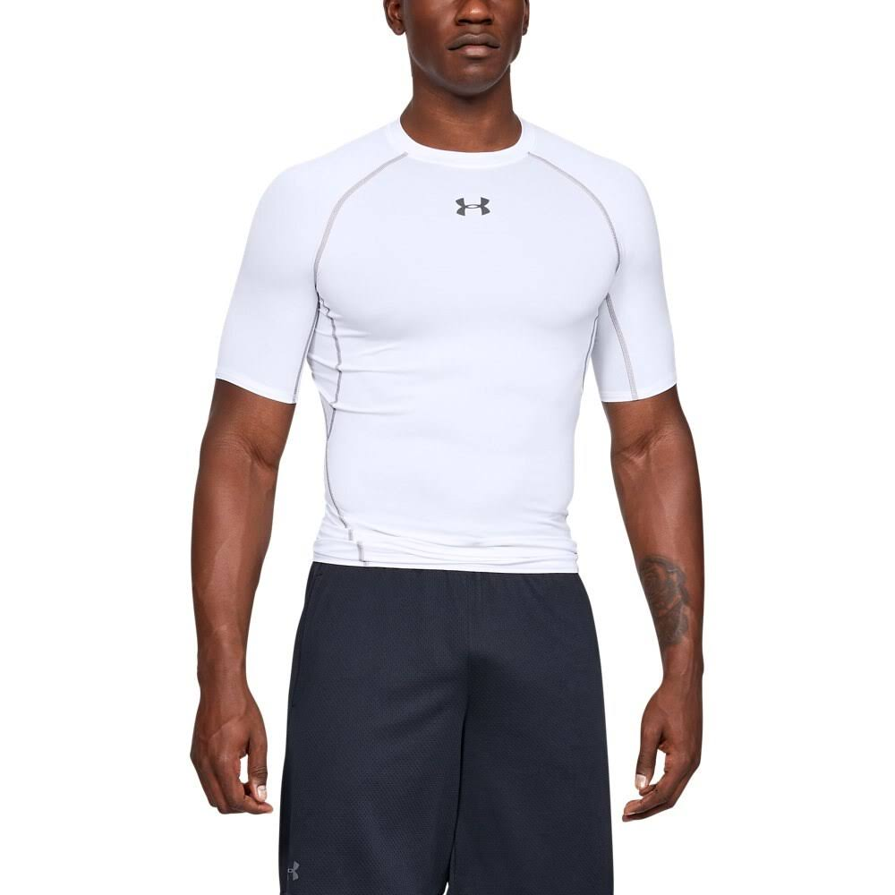 Under Armour Men's HeatGear Armour Short Sleeve Compression Shirt - White/Graphite, Medium